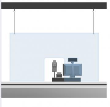 Защитный экран на кассу 1х1,5м , с кольцами для подвеса (оргстекло 3 мм)